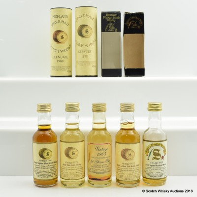 Assorted Signatory Minis 5 x 5cl Including Glenugie 1980 5cl