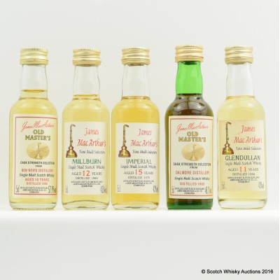 Assorted James MacArthur's Minis 5 x 5cl Including Millburn 1983 5cl