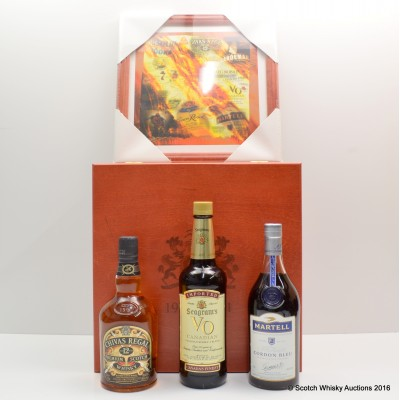 Seagram's Wooden Chest with Chivas 12 Year Old 75cl, Seagram's VO 75cl & Martell Cordon Bleu 75cl