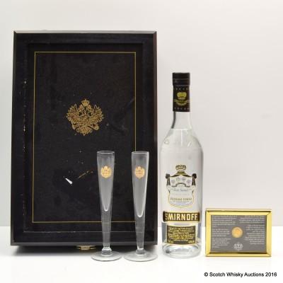 Smirnoff Black Presentation Case with Gold Coin & Glasses