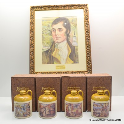 Robert Burns Bicentenary Decanter Set 4 x 70cl & Framed Robert Burns Picture