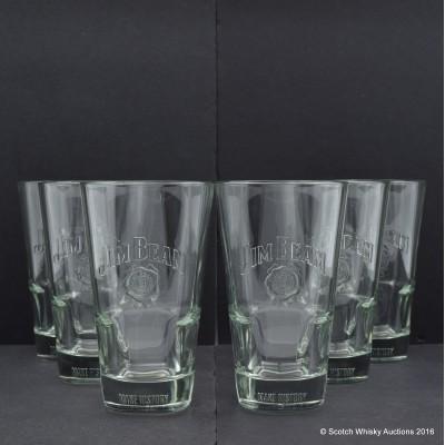 Jim Beam Tall Drink Glasses x 6