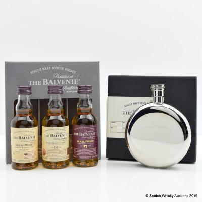 Balvenie Tasting Collection 3 x 5cl & Hip Flask