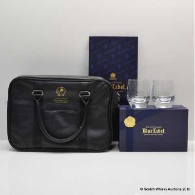 Johnnie Walker Explorer's Club Collection Leather Bag, Gift Bag & Blue Label Tumblers x 2