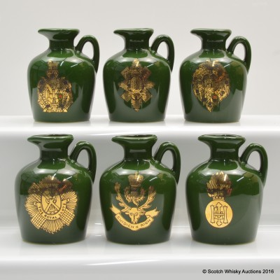 Rutherford's Regiments Mini Ceramic Flagons 6 x 5cl