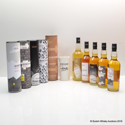 anCnoc Peter Arkle Limited Edition Complete Collection 4 x 70cl & anCnoc Peter Arkle Travel Retail Edition 1L & Water Jug