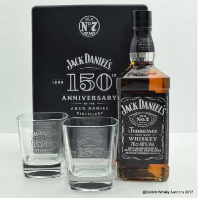 Jack Daniel's No.7 150th Anniversary Set with 2 x Glasses