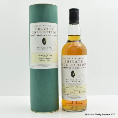 Old Pulteney 1994 Sauternes Wood Gordon & Macphail Private Collection