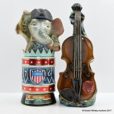 Jim beam 100 Months Ceramic Decanter 4/5 Quart & Musical Bottle