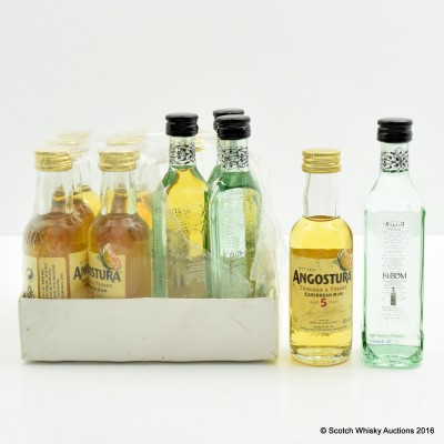 Angostura 5 Year Old Rum Minis 8 x 5cl & Bloom London Dry Gin Minis 4 x 5cl