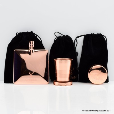 Glenfiddich Copper Hip Flask & Collapsible Cups x2