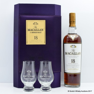 Macallan 1993 18 Year Old & Glasses Set