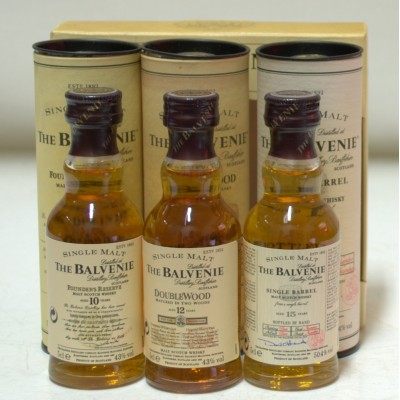 Balvenie 3 X 5cl Single Barrel, Double Wood, Founder's Reserve
