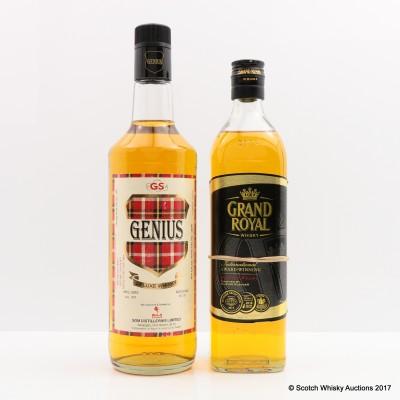 Grand Royal Burmese Whisky & Genius Indian Whisky 75cl