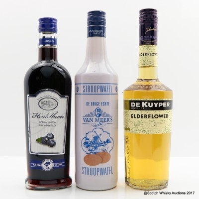Heidelbeere Liqueur 50cl, Van Meer's Stroopwaffel liqueur & De Kuyper Elderflower Liqueur
