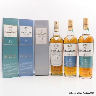 Macallan 10 Year Old Fine Oak & Macallan 12 Year Old Fine Oak & Macallan 15 Year Old Fine Oak