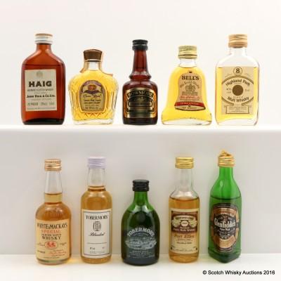 Assorted Miniatures 10 x 5cl Including Port Ellen 1969 Connoisseurs Choice