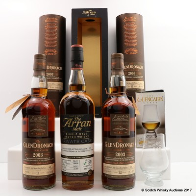 Green Welly Exclusive Bottlings 3 x 70cl - GlenDronach & Arran with Nosing Glass