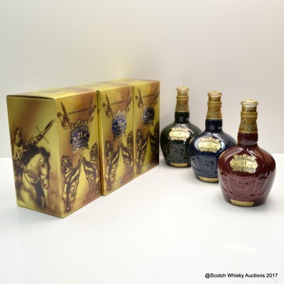 Chivas Regal 21 Year Old Emerald, 21 Year Old Sapphire & 21 Year Old Ruby Flagons 3 x 70cl