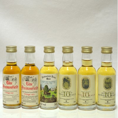Assorted 1965,1972 & 10 Year Old Minis from Prestonfield X 3 5cl & 10 Year Old Single Malt For Scottish Power Minis X 3 5cl
