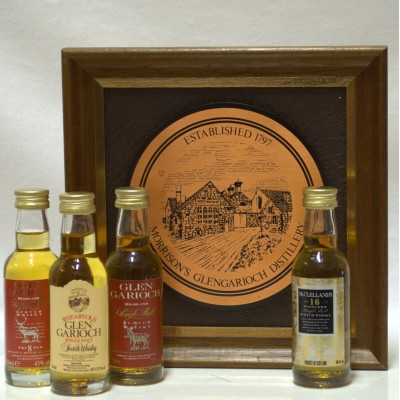 Assorted Minis 3x Glen Garrioch 5cl 1 x Mclellands 5cl & Wall Plaque