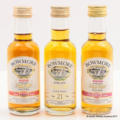 Bowmore Minis 3 x 5cl Including Bowmore 21 Year Old 5cl