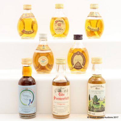 Assorted Dimple & Prestonfield Miniatures 8 x 5cl Including Islay 1965 Prestonfield
