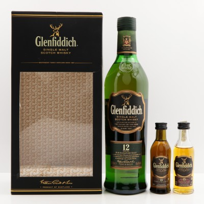 Glenfiddich 12 Year Old with 15 & 18 Year Old Minis 5cl