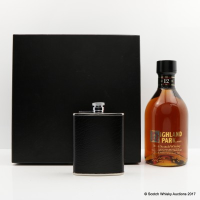Highland Park 12 Year Old Dumpy Bottle 75cl with Hip Flask & Dramming Cup