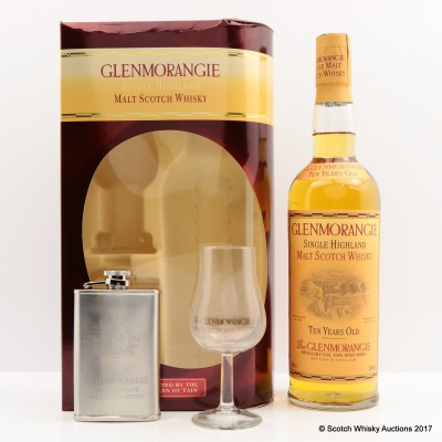 Glenmorangie 10 Year Old With Hip Flask & Glass