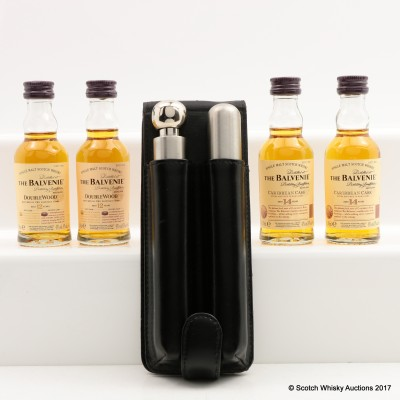 Cigar Holder & Flask in Leather Case with 4 x Balvenie Miniatures