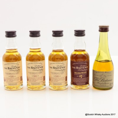 Assorted Balvenie Miniatures 5 x 5cl Including Balvenie Founder's Reserve Cognac Bottle
