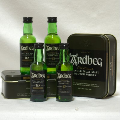 Ardbeg 10 Year Old & 17 Year Old Minis x 5cl x 2 In Tin x 2