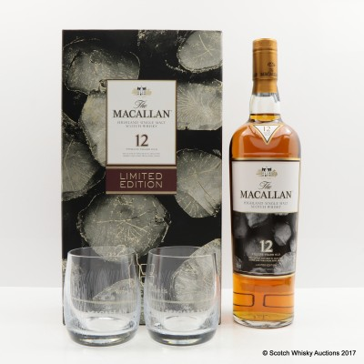 MACALLAN 12 YEAR OLD & 2 X GLASSES GIFT SET LIMITED EDITION