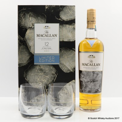 MACALLAN 12 YEAR OLD Fine Oak & 2 X GLASSES GIFT SET LIMITED EDITION