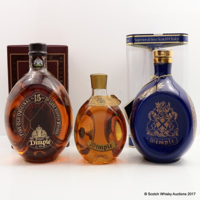 Dimple 15 Year Old 1L, Dimple 13 1/3 Fl Ozs & Dimple 12 Year Old Ceramic Decanter 75cl