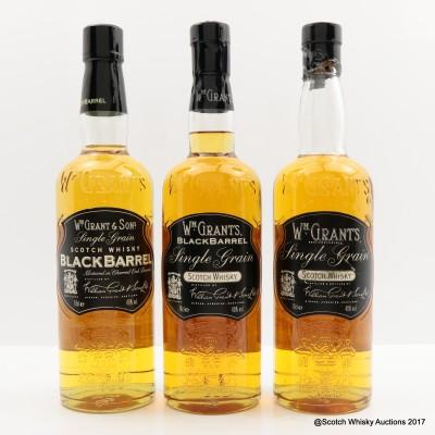 William Grant's Single Grain Scotch, Black Barrel & Single Grain Black Barrel 3 x 70cl