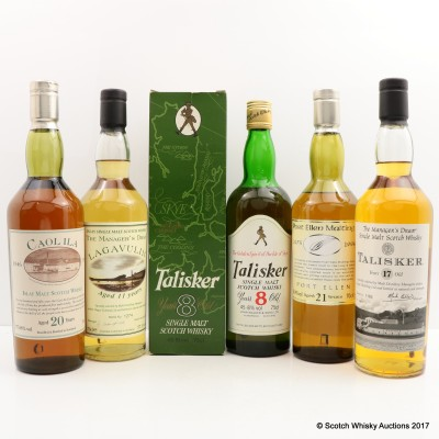 Port Ellen Maltings 21 Year Old, Manager's Dram Talisker 17 Year Old, Manager's Dram Lagavulin 11 Year Old, Caol Ila 150th Anniversary 20 Year Old & Talisker 8 Year 75cl Island Collection Set For Charity