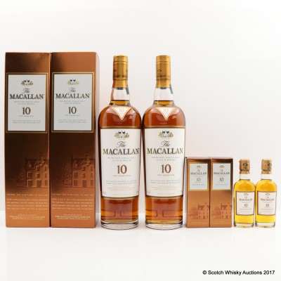 Macallan 10 Year Old 2 x 70cl & 2 x Matching Minis 5cl