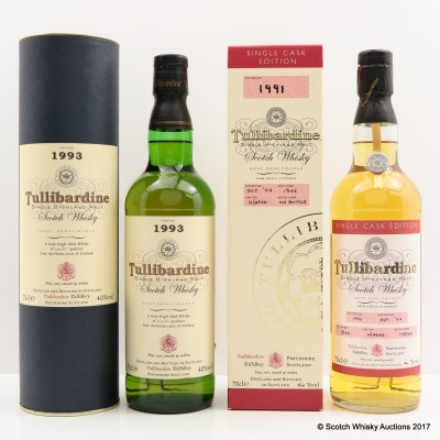 Tullibardine 1991 Single Cask & Tullibardine 1993 2 x 70cl