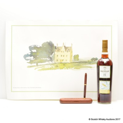 Macallan 15 Year Old Easter Elchies Seasonal Selection, Macallan The Manor-House Of Easter Elchies Post & Macallan Wooden Pen