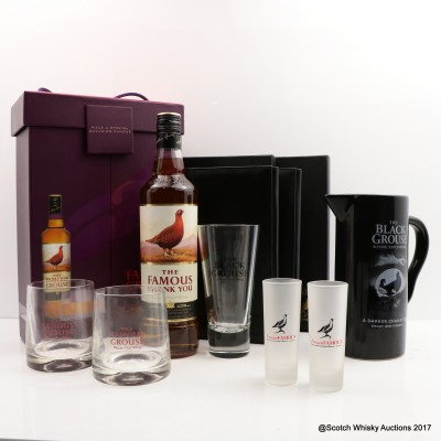 Famous Grouse Swedish Gift Set with Glasses, Wallet x 2, Black Grouse Water Jug, Glass & Shot Glasses x 2