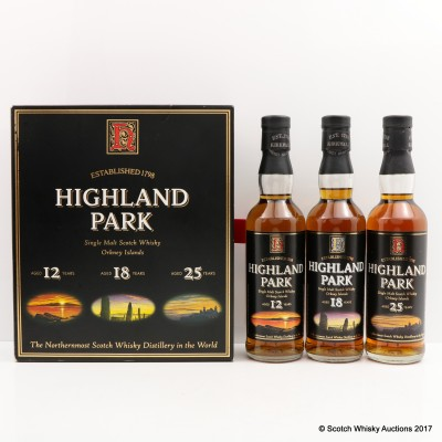 Highland Park 12 Year Old, 18 Year Old & 25 Year Old 33.3cl Set