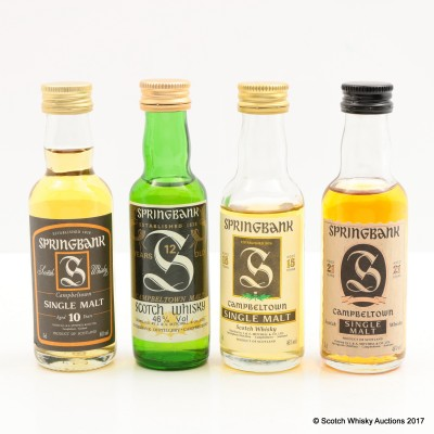 Assorted Springbank Minis 4 x 5cl Including Springbank 21 Year Old Mini 5cl