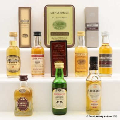 Assorted Miniatures 7 x 5cl including Rosebank 8 Year Old