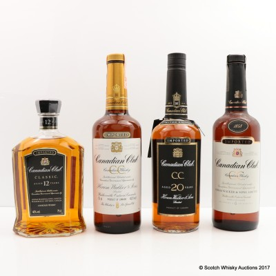 Assorted Canadian Club 4 x 75cl including Canadian Club 20 Year Old 75cl