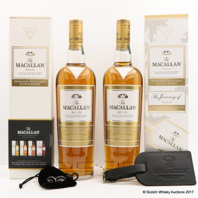 Macallan Gold with Luggage Tag & Macallan Gold with Cufflinks 2 x 70cl
