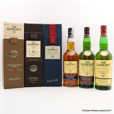 Glenlivet 12 Year Old, Glenlivet 15 Year Old & Glenlivet 18 Year Old