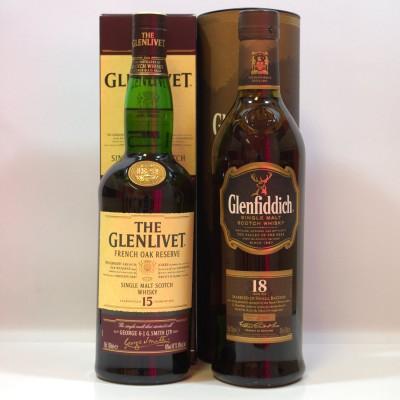 Glenlivet French Oak 15 Year Old & Glenfiddich 18 Year Old