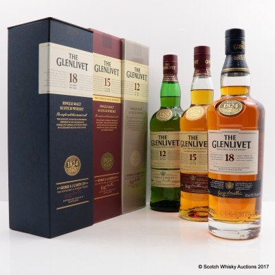Glenlivet 12 Year Old, 15 Year Old & 18 Year Old 3 x 70cl